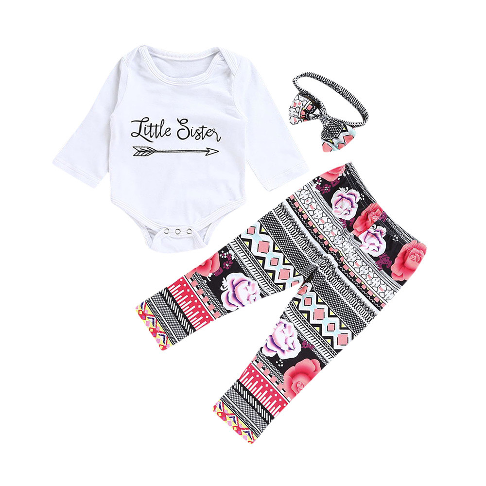 MUQGEW 3pcs Baby Girl Clothes Set LITTLE SISTER Romper+flower Pants+Headband Outfits Winter Baby Girl Clothes Kleding Z06 3pcs set cute newborn baby girl clothes 2017 worth the wait baby bodysuit romper ruffles tutu skirted shorts headband outfits