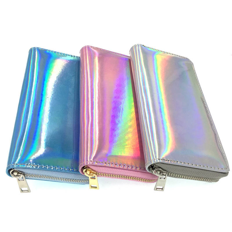 Kandra Fresh Laser Women Long Wallet 2019 Holographic Leather Laser Wallets Female Coin Girl Purses Card Pocket Dropshipping