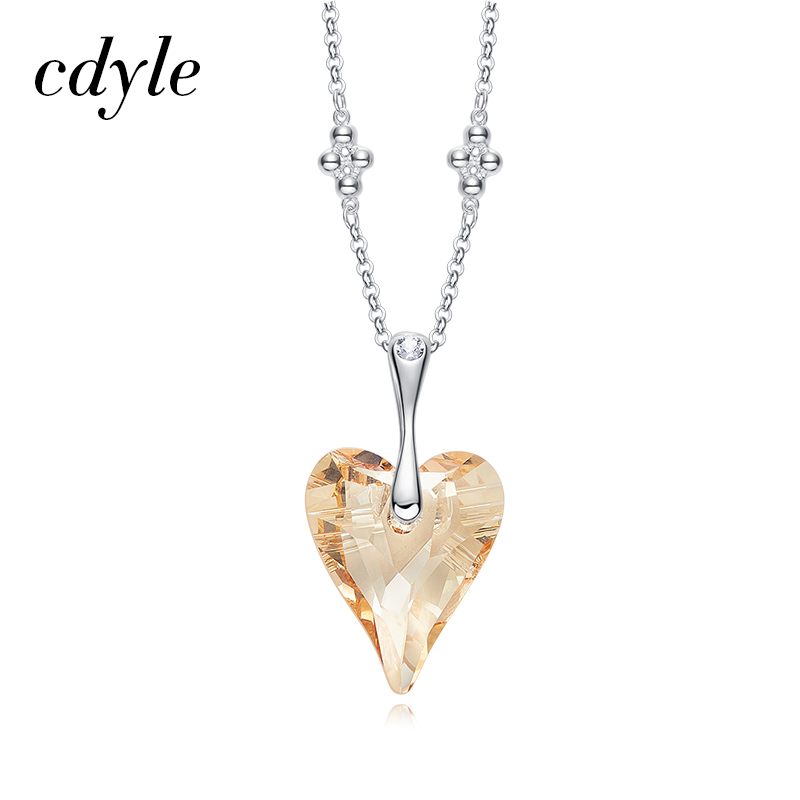 Cdyle Crystals from Swarovski Women Pendants & Necklaces S925 Sterling Silver Fashion Jewelry Rhinestone Heart Jewelry Yellow shdede heart necklaces pendants crystal from swarovski elements vintage fashion jewelry for women 10800
