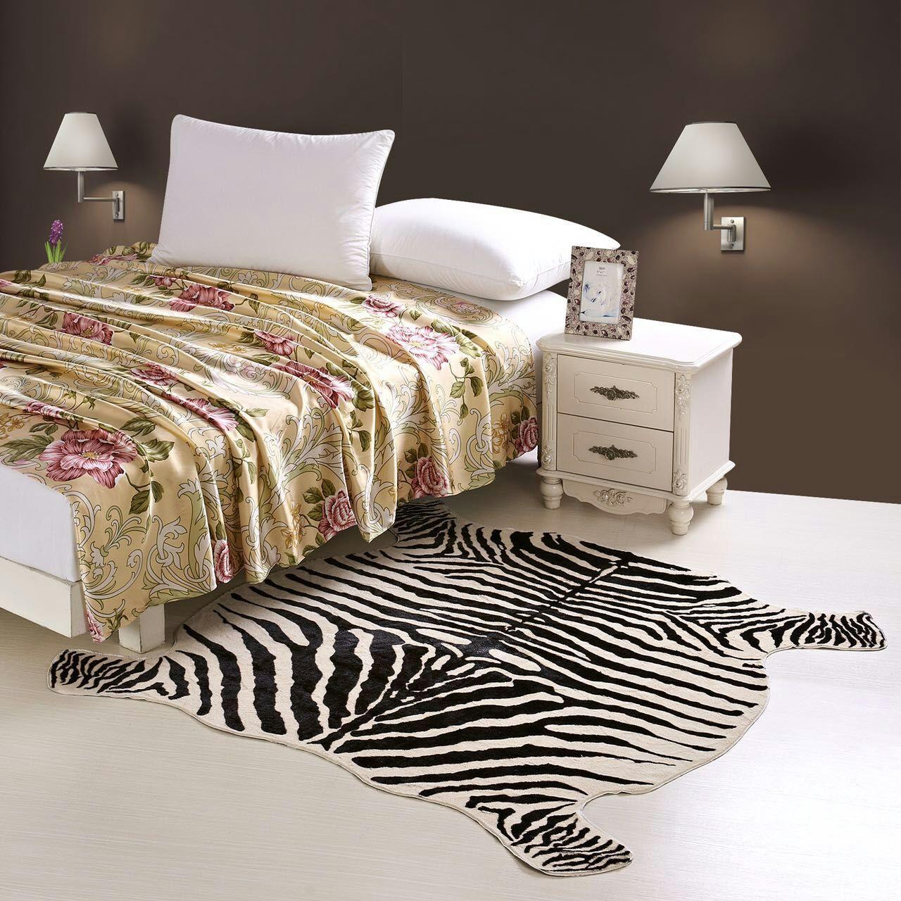 Sapi / Zebra Karpet dan Karpet Gaya Koboi Hewan Kulit Imitasi Kulit Sapi Rumah Kamar Tidur Ruang Tamu Dekorasi Kreatif Tikar
