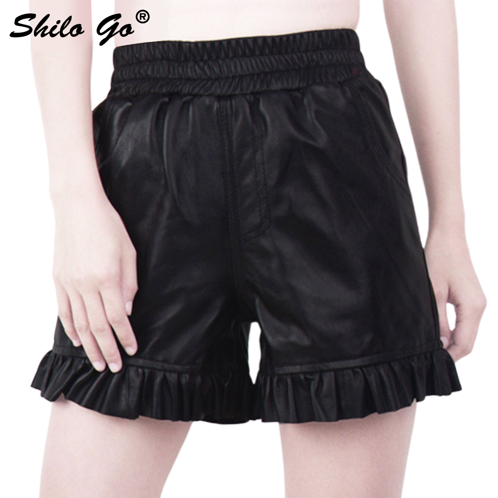 Leather Shorts Womens Autumn Fashion Sheepskin Genuine Leather Shorts Black Elasticity High Waist Pocket Ruffles Shorts