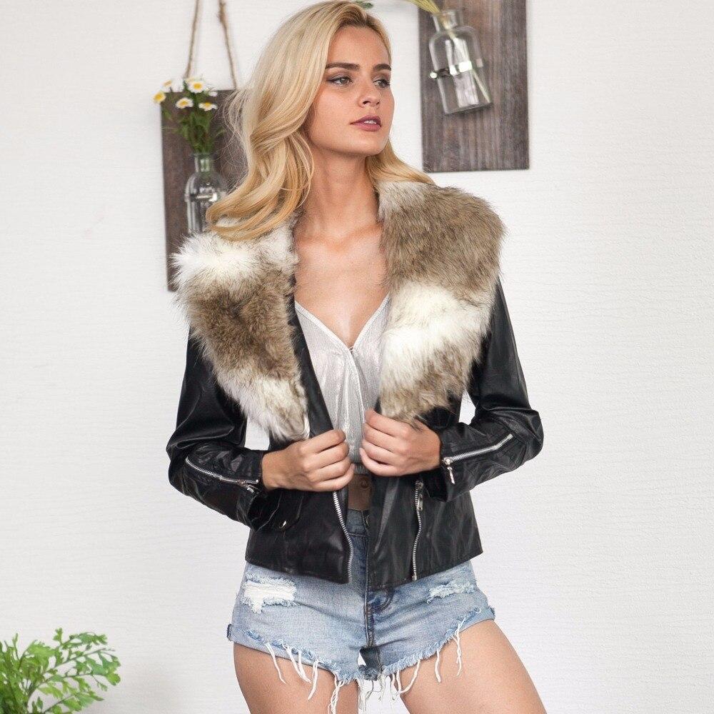 Femme Manteaux Cuir Hiver Nouveau Manteau Court Col 2018 Vestes Mumuzi Haute Femmes Veste De Chauds Fourrure Moto En Rue Faux URY6xqw