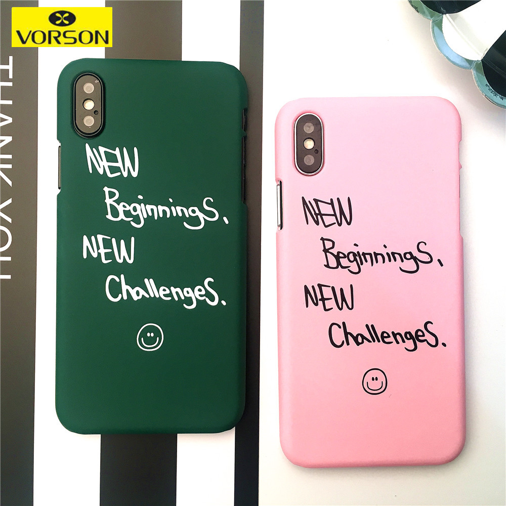 Funny Word Phone Case For iphone X 10 6 6s 7 8 plus Case cover New beginnings New Challenges Hard PC Cell phone Accessories Capa