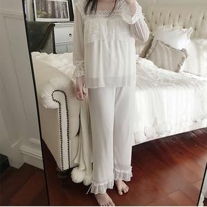 Image 2 - Unikiwi. conjuntos de pijama de lolita feminino. topos de renda + calças compridas. conjunto de pijamas de malha de menina de senhoras vintage. roupa de dormir vitoriana loungewear