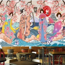 Custom wallpaper murals - Vintage hand-painted Japanese and Japanese ladies sushi restaurant wall - High-end wall covering free shipping vintage japanese sushi ladies mural hot pot shop hand pulled noodle screen wallpaper mural