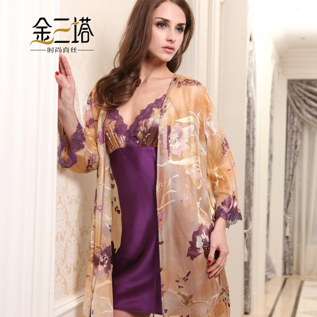 Women's silk robe gold burnt-out raw silk set robe set twinset