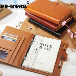 2019 Business Leather Notebook Quality ring binder a5 commercial notepad stationery notebook tsmip stationery Free Shiping