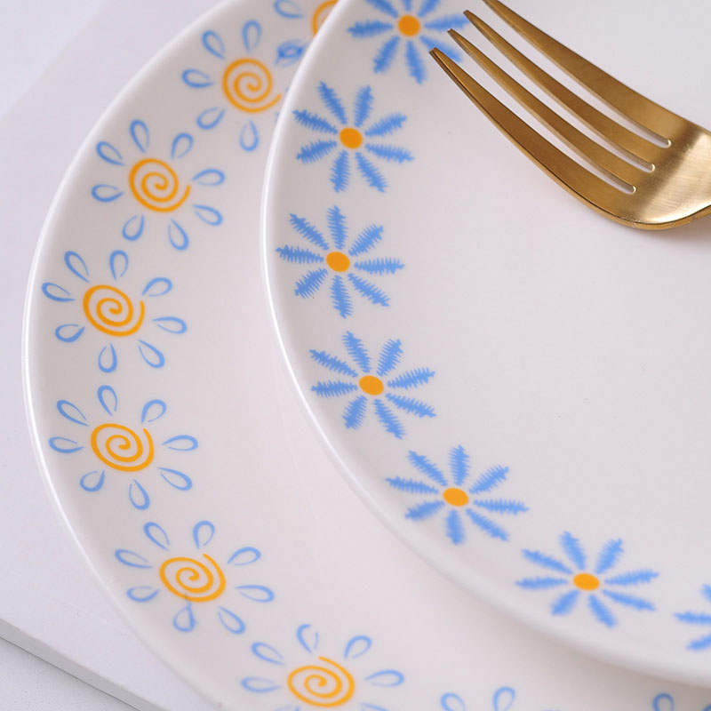 GLLead Fashion Flower Pattern Ceramic Tableware Breakfast Fruit Cake Plate Creative Porcelain Dish Steak Tray Dinnerware-in Dishes \u0026 Plates from Home ...  sc 1 st  AliExpress.com & GLLead Fashion Flower Pattern Ceramic Tableware Breakfast Fruit Cake ...