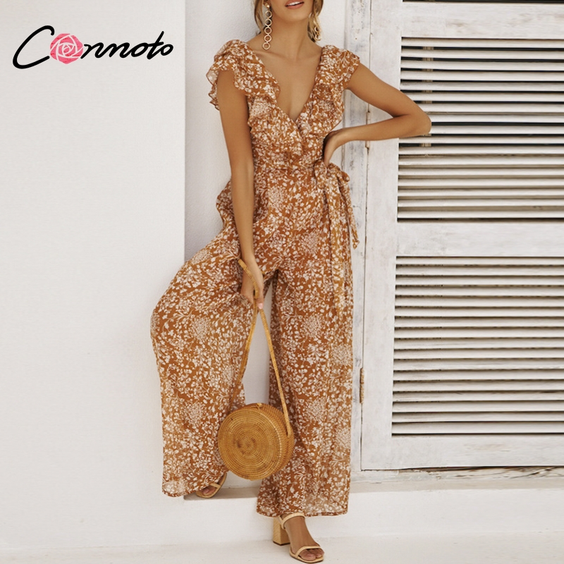 Conmoto Ruffle Backless Chiffon   Jumpsuit   Women 2019 Summer Sexy Wide Leg Mesh   Jumpsuit   Beach Strap V Neck Long Romper