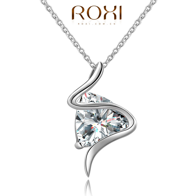 ROXI Brand AAA CZ Hearts and Arrows Necklace For Lover's Crystal Flower Necklace Pendant Silver Chain Fashion Jewelry