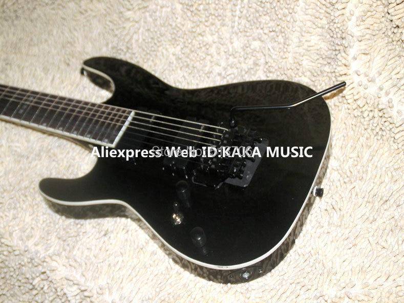 buy left handed 7 strings black electric guitar wholesale guitars from china. Black Bedroom Furniture Sets. Home Design Ideas