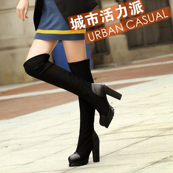 Aliexpress.com : Buy Womens Over Knee Boots Black Elastic Suede ...