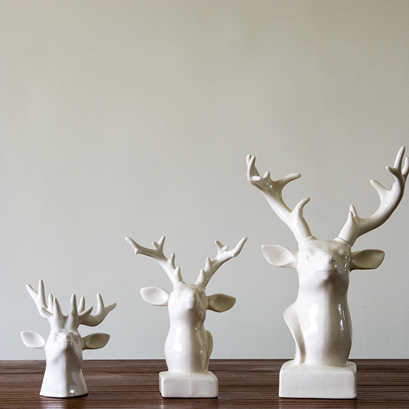 Contemporary contracted ceramic deer head ornaments for Home decor gifts