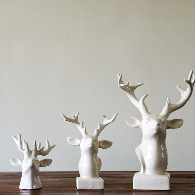Contemporary contracted Ceramic Deer Head Ornaments sitting room ...
