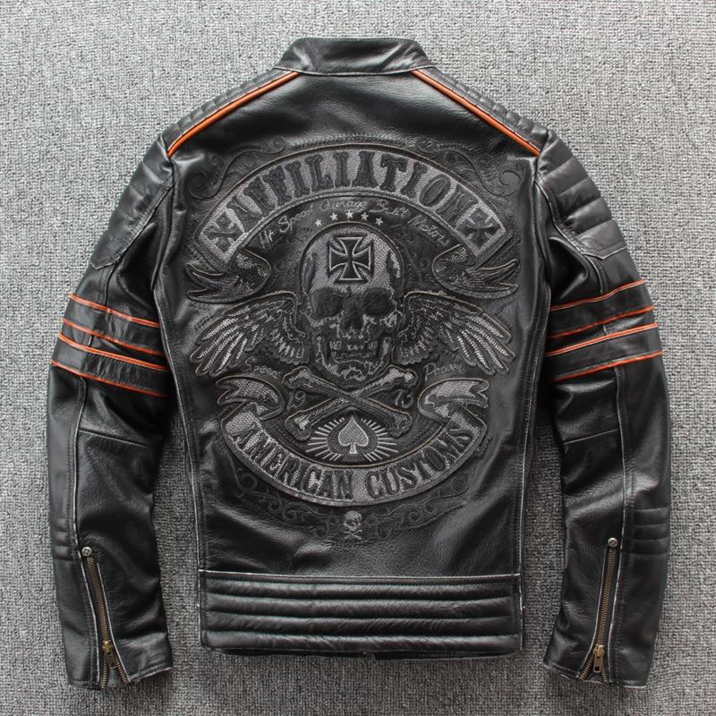 Image 2 - HARLEY DAMSON Vintage Black Men Embroidery Skulls Biker's Leather Jacket Plus Size 4XL Genuine Cowhide Slim Fit Motorcycle Coat-in Genuine Leather Coats from Men's Clothing