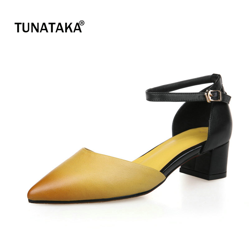 Woman Genuine Leather Conmfort Square Heel Woman Ankle Strap Pumps Fashion Pointed Toe Dress High Heel Shoes Woman Red Yellow creativesugar fashion woman pointed toe