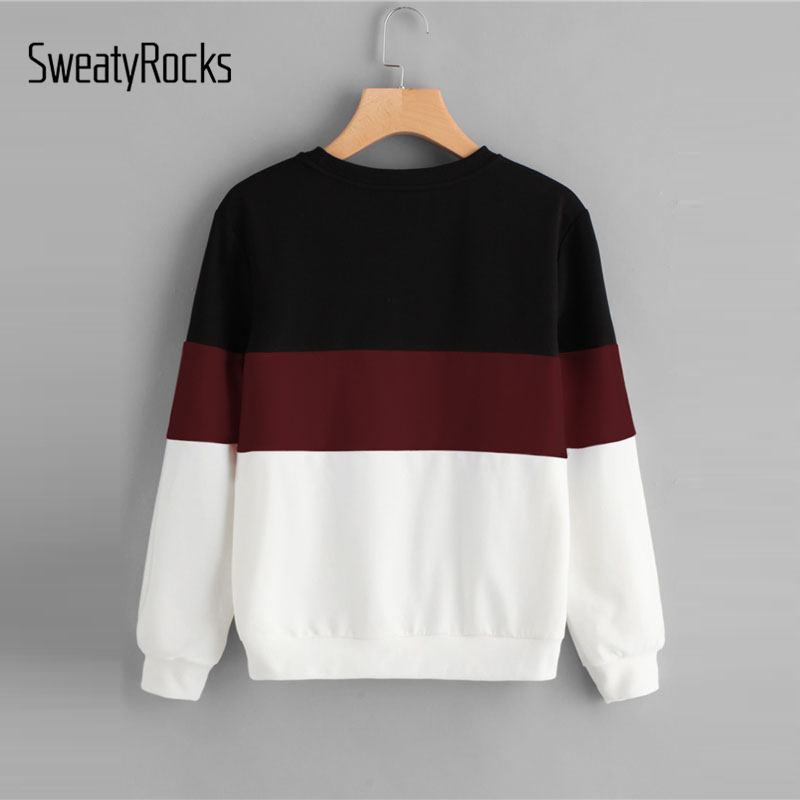 SweatyRocks Womens Casual Long Sleeve Round Neck Colorblock Crop Sweatshirt