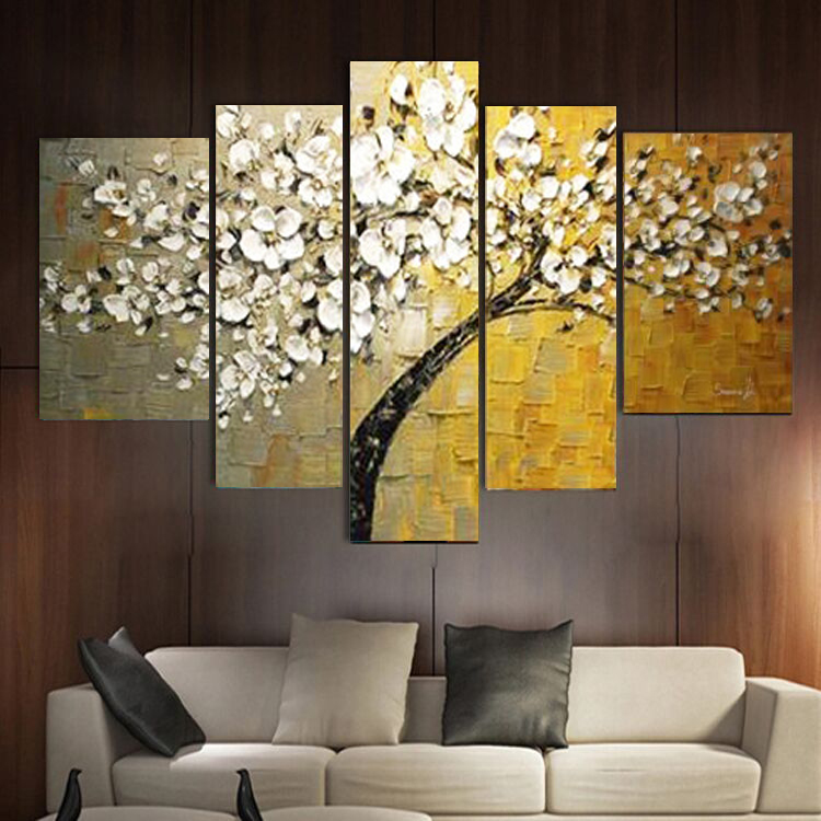Hand painted thick knife oil painting  white flower yellow on canvas modern home decor abstract wall art picture for living roomHand painted thick knife oil painting  white flower yellow on canvas modern home decor abstract wall art picture for living room