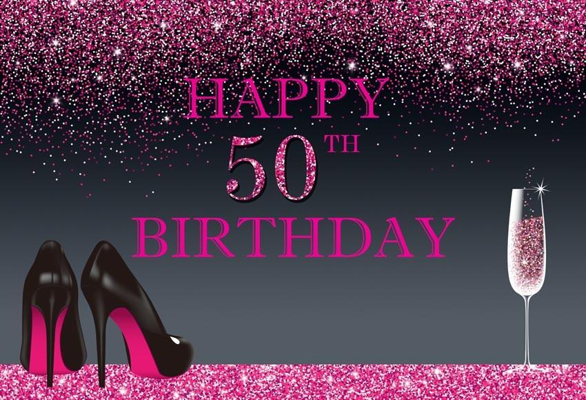 Vinyl Elegant High Shoes Happy 50th Birthday Party Photo