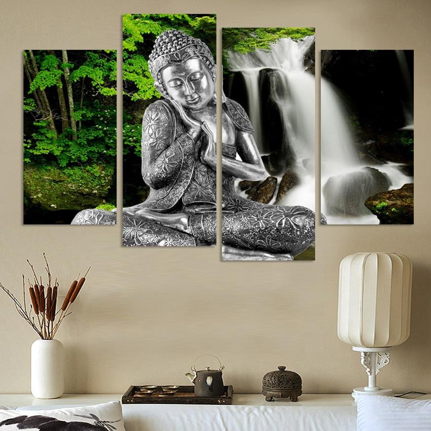 4 Piece Kanvas Seni Modern Dicetak Buddha Lukisan Gambar Decoracion - Dekorasi rumah