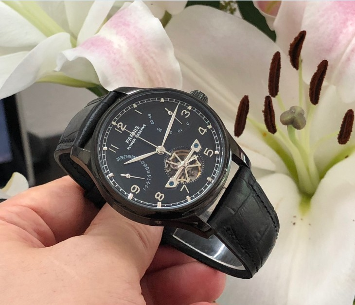 43mm PARNIS azjatyckich ST2505 automatyczne self wiatr mechaniczne zegarki męskie zegarki zasilania rezerwy Auto data zegarki mechaniczne pa144 8A w Zegarki mechaniczne od Zegarki na  Grupa 2
