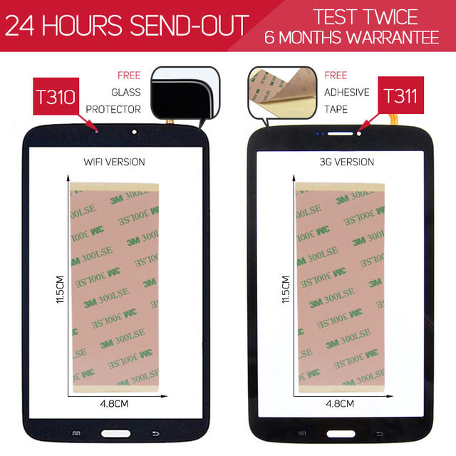 3G / WiFi Version TESTED Touchscreen For SAMSUNG Galaxy Tab 3 8.0 T311 T310 Touch Screen Digitizer BLACK WHITE SM-T310 SM-T311
