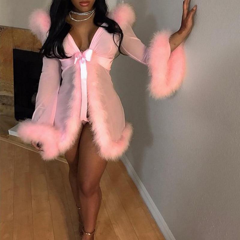 3pcs Fur Erotical Set Women Mesh Sheer See Through Sleepwear Robe Sexy Lingerie Costume Night Gown Erotic With Briefs Belt