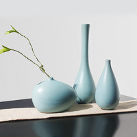 creative blue Ceramic Flower arrangement Chinese Small Vase Bottles P Mini Home Decoration jade flower Vase Table Small Vases