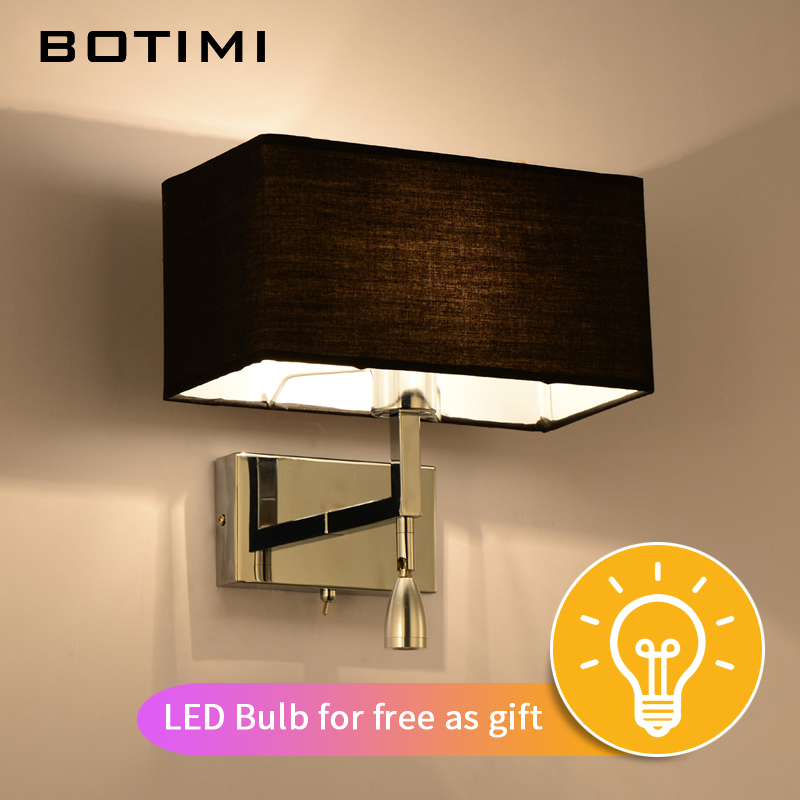 BOTIMI Modern LED Wall Lamp For Living Room Bedroom Hotel Bedside Wall Sconce With Fabric Lampshade LED Luminaire Home Lighting