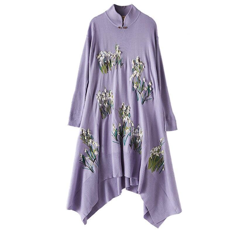 Laine Pull Xxl Taille Hand 2018 Perles Plus Designer Qualité Hiver Black Top Broderie Made Femmes Chaud Purple light La Automne Robe Tricoté red O8YqP