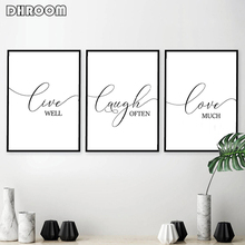 Motivational Quote Wall Art Live Laugh Love Canvas Art Painting Poster and Prints Nordic Decorative Picture for Living Room