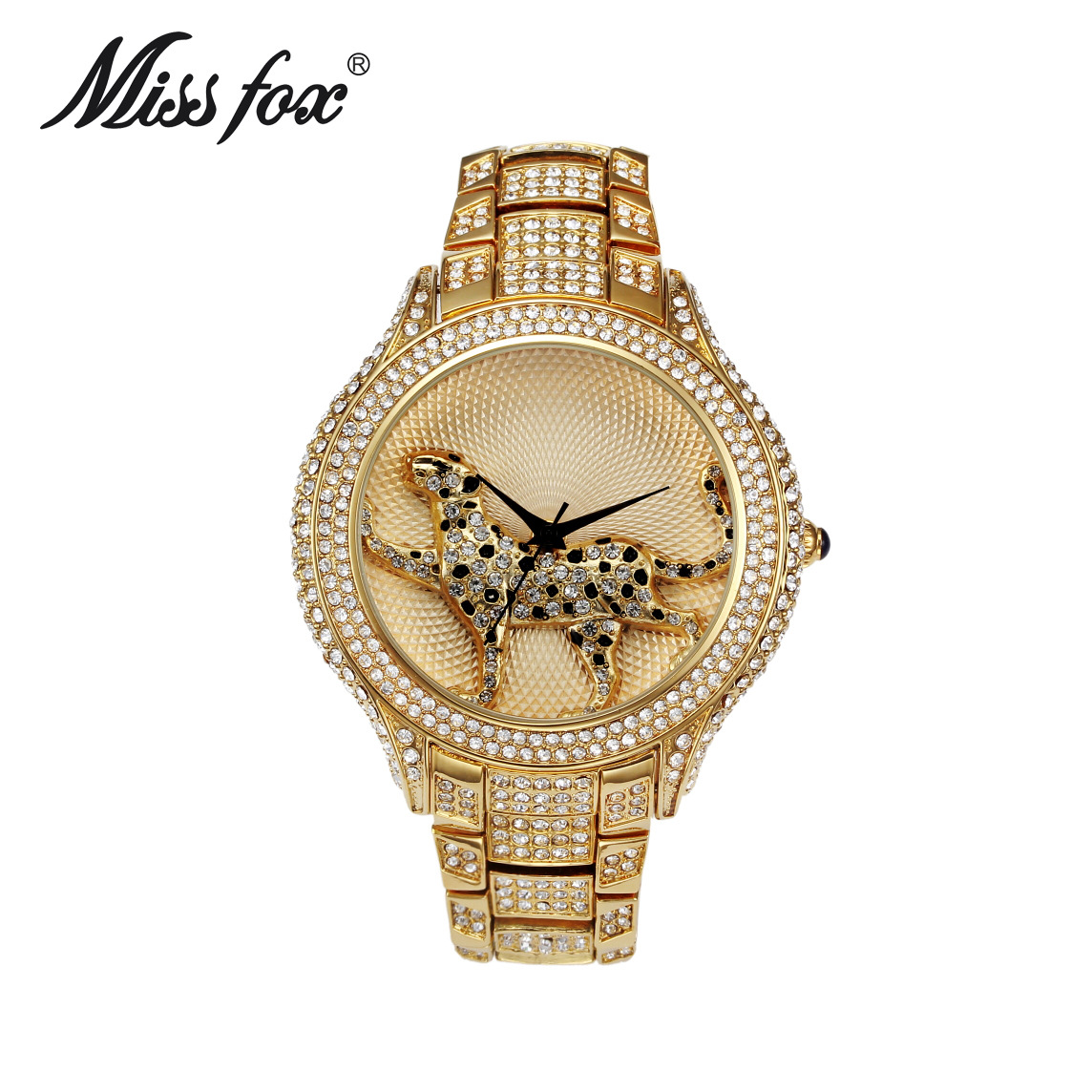 Miss Fox Luxury Brand Womens Leopard Watch Stainless Steel Quartz Wristwatches Full Diamond Rhinestone Clock Relogio Femininos комплектующие для раковин hangzhou elegant bathroom 88888