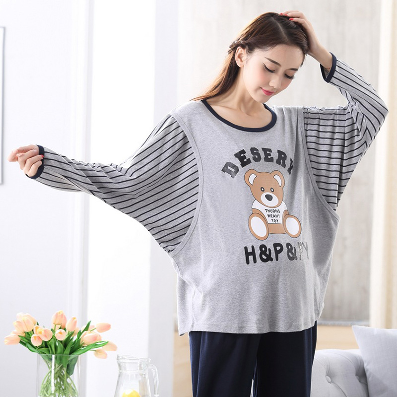 Plus Big Size XXL Cotton Maternity Sleepwear for Pregnant Women Pajamas Nursing Breast Feeding Nightgown Clothes For Long Sleeve