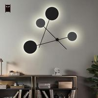 Big LED Iron Metal Round Wall Lamp Fixure Modern Nordic Contemporary Scandinavian Sconce Lighting Design for Bedroom Living Room