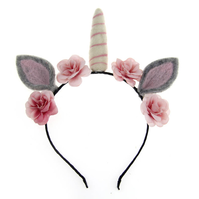 Handmade Wool Felt Unicorn Headband Hair Bands For Girls Kids Women Cat Ears  Alice Bands Fashion Party Hair Accessories 632b3933f1d8