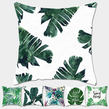 Tropical Plants Palm Leaf Green Leaves Monstera Cushion Covers Hibiscus Flower Cushion Cover Decorative Beige Linen Pillow Case цены