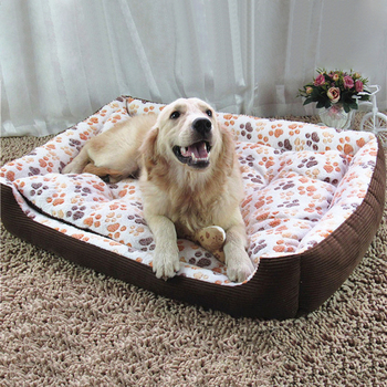 Warm Corduroy Padded Dog Bed 1