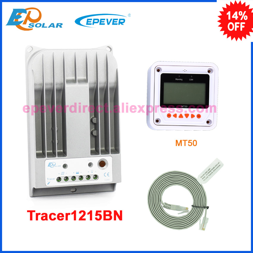 12v 24v auto work MPPT solar charging regulator EPEVER charger Tracer1215BN with white MT50 remote meter 10A 10amp 12v 24v auto work tracer1215bn for 12v 130w solar panel home system use 10a 10amp with wifi function usb cable and mt50
