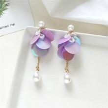 цена 7 colour sequins and relaxed fashion runway fashion beautiful purple pearl earrings gift wholesale female earrings 2018 geometry онлайн в 2017 году