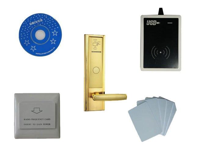 цена на T57 card hotel lock system, include T57 hotel lock, usb hotel encoder,energy saving switch,T57 card , sn:CA-8020-kit