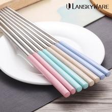 LANSKYWARE 4 Pairs/Set 304 Stainless Steel Chinese Chopstick Wheat Straw Handle Reusable Chopsticks Food Sushi Stick