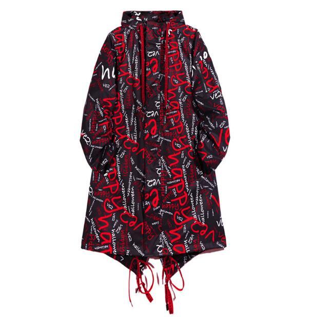 2020 nouveau Hip hop rue mode rue lettre impression longue trench manteau veste hommes ample à capuche veste hommes pardessus chanteur - 2