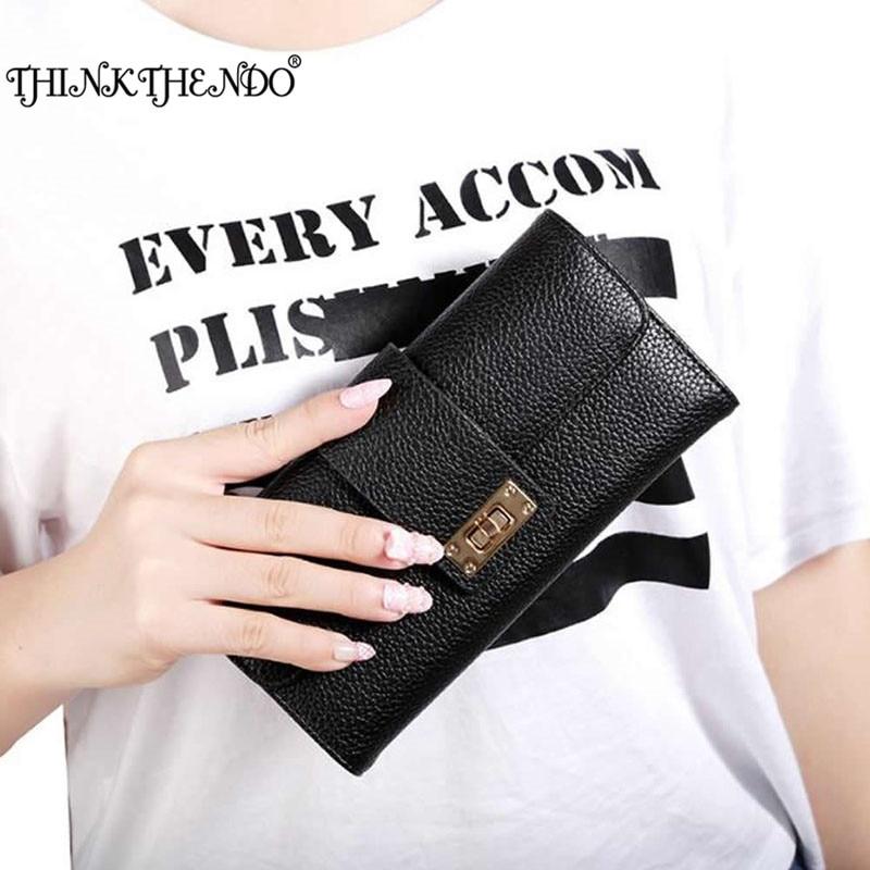 THINKTHENDO Fashion Womens Leather Bifold Wallet Clutch Card Holders Purse Lady Long Handbag zelda wallet bifold link faux leather dft 1857
