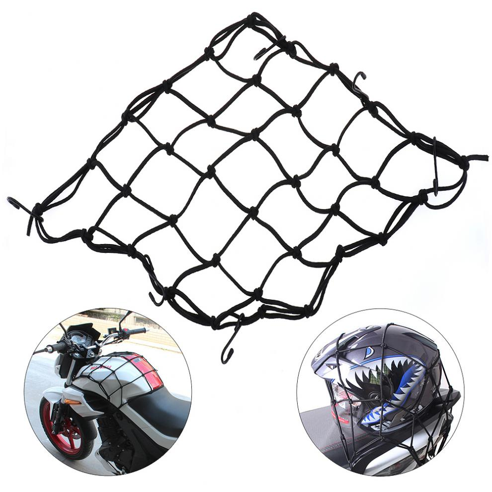 Black 40 X 40 cm High Toughness Elastic Rope Universal Motorcycle Tank and Baggage Net with 6 Hooks and Tight Mesh for Riding image