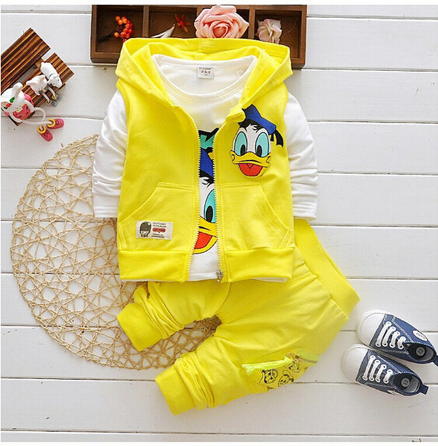 Los niños al por menor de la nueva historieta niños pato Donald de la chaqueta casual coat camiseta pantalones 3 del estilo del deporte ropa
