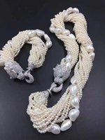 10 reihen weiße süßwasser-zuchtperlen nähe runde 3-5mm halskette 19 zoll armband leopard verschluss großhandel natur perlen FPPJ
