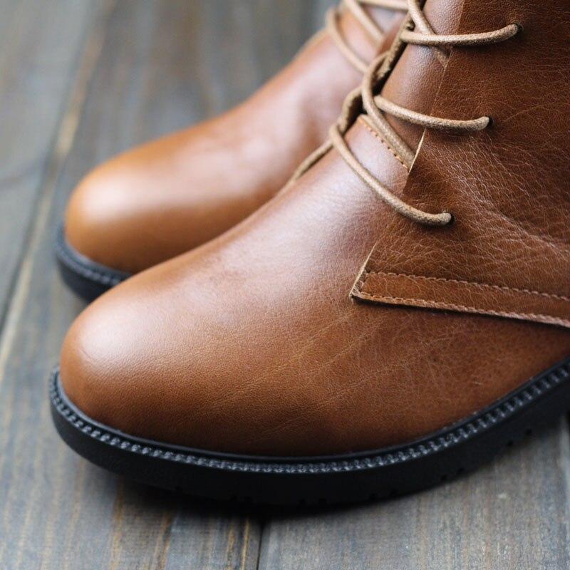 Ceyaneao Authentique Cheville Lacets Bottes En Femmes 100 Dames Chaussures Cuir Bottines coffee Femme À Rond Printemps Brown Bout Automne qrrw7t8