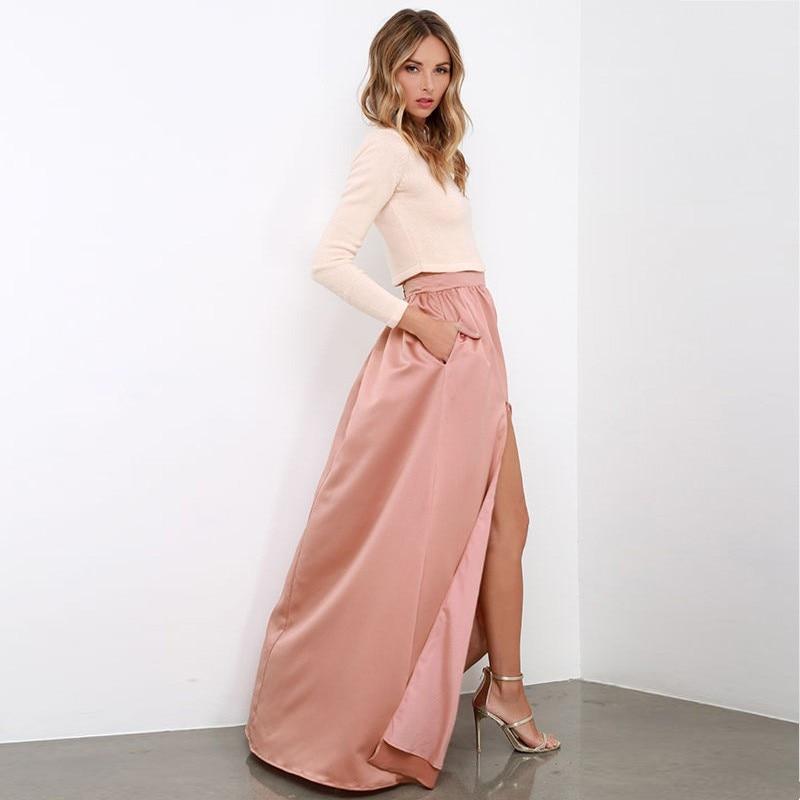 b1098d2cc € 31.43 |Elegante faldas largas Moda Mujer Invisible Zipper faldas División  Gorgeous tafetán piso longitud faldas mostrar su figura Sexy en Faldas ...