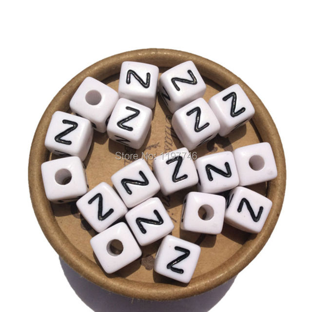 10mm,100pcs Bulk Acrylic Single Cube Alphabet Beads Letter Z, Black and  White Plastic Letter Beads For Sale-in Charms from Jewelry & Accessories on