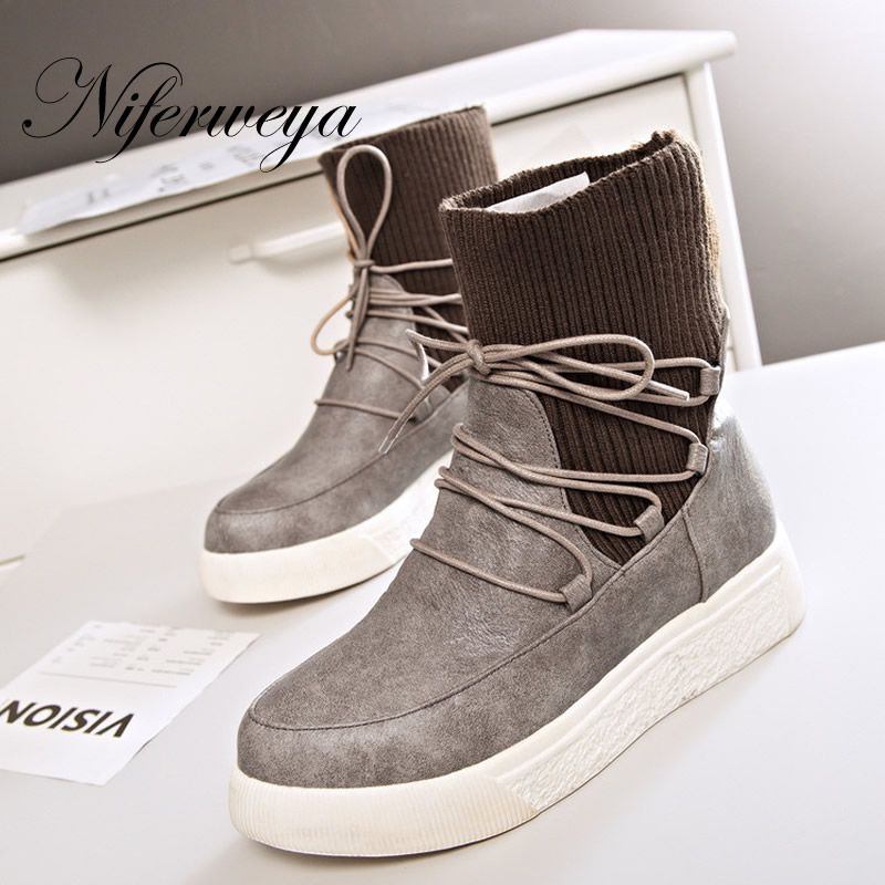 Women winter boots Knitting Wool platform Wedges low heel Shoes big Size 32- 43 Round Toe Slip-On Ankle Boots zapatos mujer bosch smv 50m50